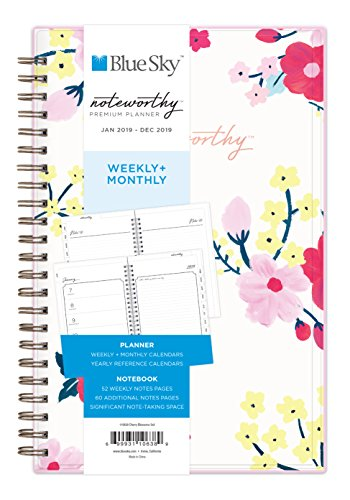 Cambridge Cherry (Blue Sky Bemerkenswert 2019 Weekly & Monatliche Planer und Notebook, flexibles Cover, Doppelspiralbindung, 12,7 x 20,3 cm Cherry Blossom (110638))