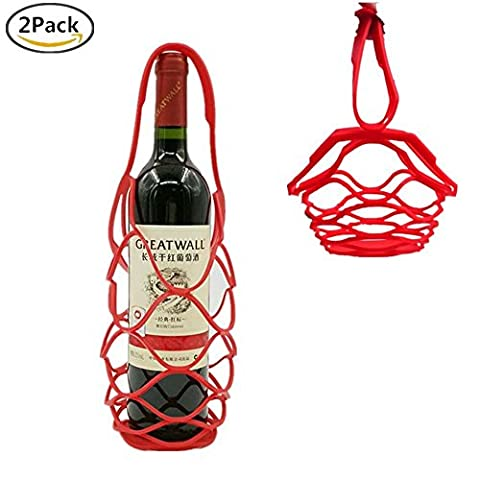 Support pour bouteille de vin en silicone, Clkj 2en 1œuf de fruits Bouteille de Vin de transport Organiseur résistant à la chaleur en silicone support de pot Table antidérapant Lot de 2 Red