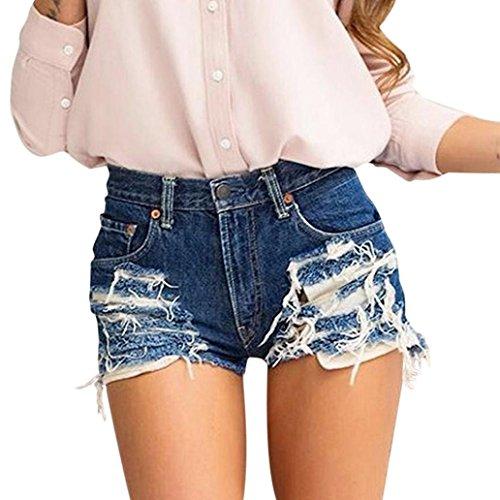 Pantaloncini di jeans denim, ashop slim strappati skinny stirata, pantaloncini in denim con cerniera sul retro delle donne, pantaloni a gamba larga in nappa (s, blu)
