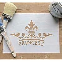 Princess Crown Fleur de Lys re-usable Stencil Template, A4 Image Size 230mm x 141mm