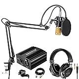 Neewer NW-800 Kondensatormikrofon und Monitor Kopfhörer Set mit 48V Phantomspeisung, NW-35 Ausleger Scherenarmständer, Shock Montage und Pop Filter für Zuhause Studio Stimme Aufnahme