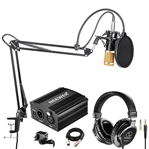 Neewer NW-800 Kit de Microphone Condensateur et Casque Studio avec Alimentation Phantôme 48V(Noir), NW-35 Bras Suspension, Support Antichoc et Filtre Antipop pour Enregistrement Maison Studio(Noir/Or)