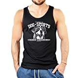 Berner Sennenhund - Herren Tank Top ärmelloses T-Shirt Männer mit Hunde Motiv Aufdruck Trägertop schwarz Gr: XXL :