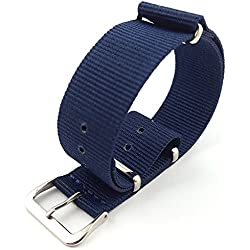 G10 Nato Military Blue Nylon Watch Strap Band Stainless Steel Buckle 16mm