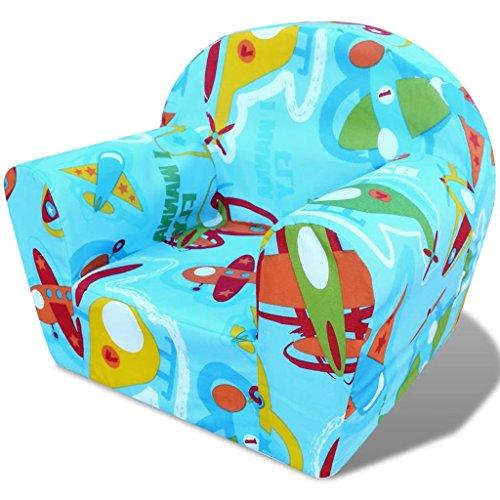 vidaXL Fauteuil pour enfants Motif d'avions Chaise siège de salon séjour pour enfants