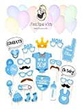 Baby Shower It`s a Boy Foto Requisiten - Fastique Kids® Fotoaccessoires für neugeborene Jungs - 25 Party Motive mit Ho