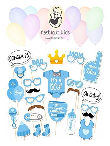 fastique kids Baby Shower It`s a Boy Foto Requisiten Fotoaccessoires für Neugeborene Jungs - 25 Party Motive mit Holzstäbchen - Dekoration Photo Booth Probs (Blau)