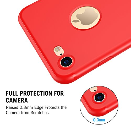 iPhone 7 Hülle, RANVOO Silikon Dünn Anti-Fingerabdruck Ultra Slim Soft TPU Case for iPhone 7 Schwarz, [TENDER005] Rot