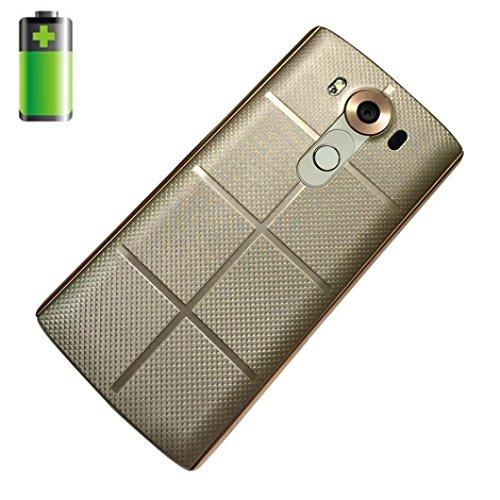 Prevently Akku Wireless Backcover + Empfänger für LG V10 Echtes Leder Qi Wireless Ladegerät ChargingCase Akku + Receiver Aufkleber Unterstützung NFC für LG V10 (Gold)