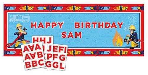 amscan 998167 Banner Fireman Sam Personalisierbar, Mehrfarbig