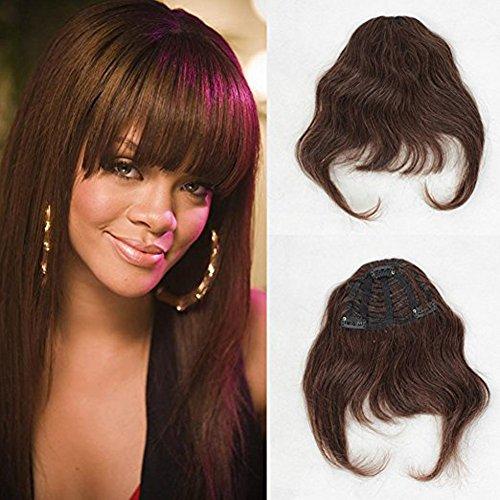Zanawigs - extension di capelli veri brasiliani lisci con frangia corta per donne, dotata di clip