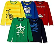 SOUTH SAILOR Boys Cotton Regular fit T-Shirt (Multicolor_2 to 16 Years) Pack of 5