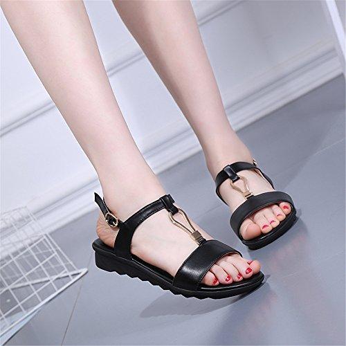 Sommer Damen Sandalen T-Typ Krawatte - Krawatte rutschfeste Schuhe Schwarz