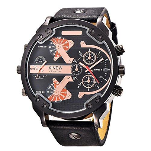 Rcool 2017 Herren Luxus Edelstahl Uhr Leder Datum Analog Quarz Armbanduhren Schwarz für Männer (Fossil Analog-digital Uhr)