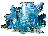 Rainbow Fox 3D Meer Wandtattoo Hai und Fische schwimmen im blauen Ozean Abnehmbarer 3D-Wandaufkleber Kunst für Kinderschmuck