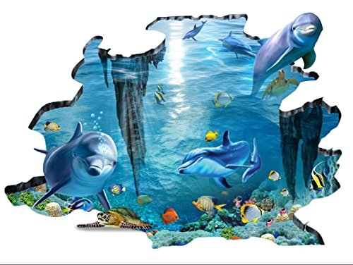 rainbow-fox-sea-3d-wall-decal-requins-et-poissons-nager-dans-locean-bleu-amovible-3d-sticker-mural-p