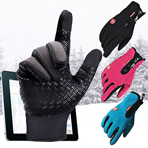 Juleya Damen Handschuhe Herren Touchscreen Handschuhe für Smartphone Skihandschuhe Winterhandschuhe Motorrad Handschuhe Klettern Rennen Radfahren Wandern Winter Outdoor Handschuhe Rose Rot L