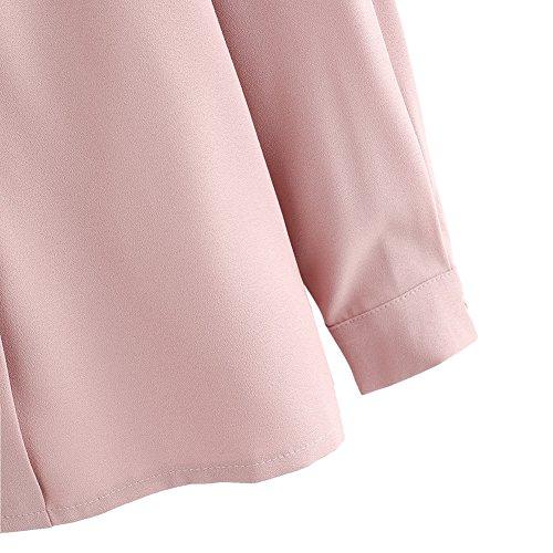 SOLYHUX Femme Top manches longues chemise Col V Blouse de travaille Shirt élegant Bordeaux Rose