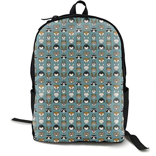 Cute Woodland Animal Heads - Teal Adult Premium Travel Backpack, Water-Resistant College School Bookbag, Sport Daypack, Outdoor Rucksack, Laptop Bag for Men&Women