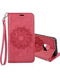 Funda Galaxy S9, COOSTOREEU Mandala flor PU cuero Wallet Stand Flip Funda para Samsung Galaxy S9,Roja