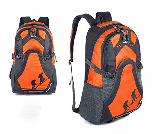 AllureFeng Wasserdichte großvolumigen Outdoorsport Rucksack Wanderrucksack Student Tasche Wandern Männer Orange