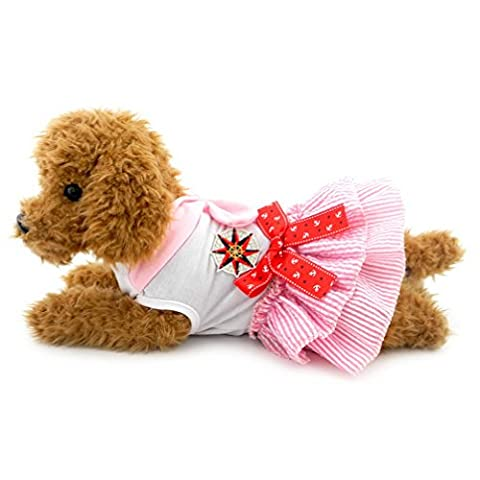 Ranphy Small Dog/Cat Sailor Dress Chihuahua Clothes Naval Uniform Tutu Dress Summer Pet Apprael Sweet Cotton Skirts Pink S