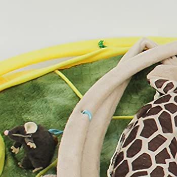 POPETPOP Lit Peluche de Chat Pliable Tapis de Jeu et d'Activité Panier Matelas Coussin Maison Moelleux pour Chat Chien avec Jouets Suspendus Clochettes Balles et Souris Motif Girafe 52x52x35cm