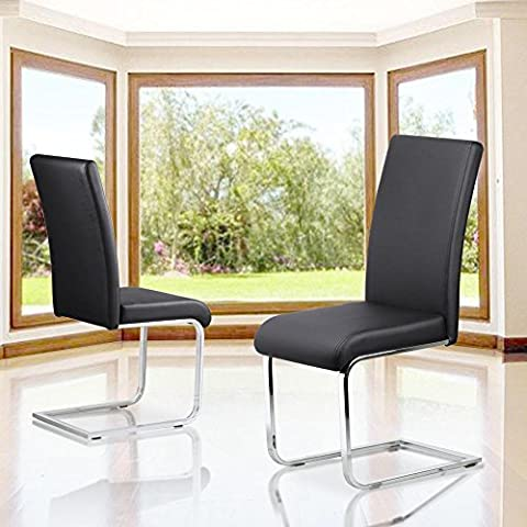 Popamazing Stylish Faux Leather Dining Chairs with High Back and Metal Legs Kitchen (Set of 4, Black)