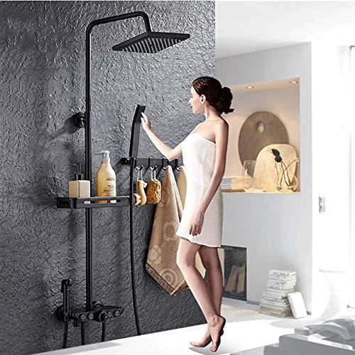 ASWT-Duschsysteme, Temperiergeräte Europäische Wand- Start-Dusche-Satz, Booster-Düse Dusche Und Handbrause Thermostat-Dusche (Mit Shelf)