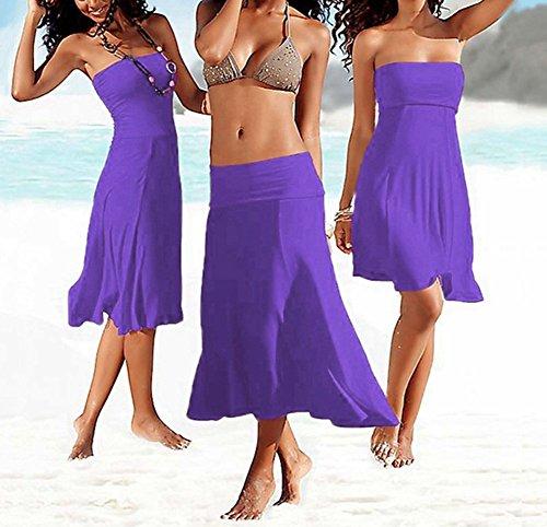 Donna Vestito Dalla Spiaggia Colore Puro Senza Maniche Femminile Bikini Copricostumi e Parei Viola