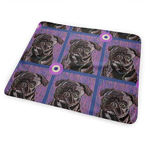 Black Pug Bullseye Bed Pad Washable Waterproof Urine Pads for Baby Toddler Children and Adults 31.5 X 25.5 inch