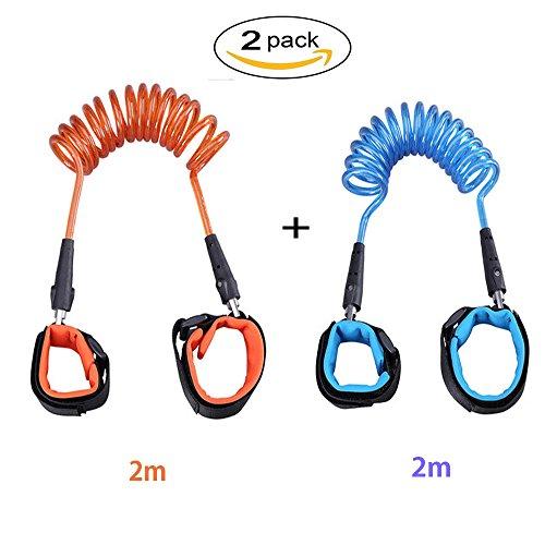 2 Pcs Kinder Anti verloren Gürtel Sicherheit Handgelenk, Wanlxc Verstellbare Komfortable Baumwolle Haltegurt Sicherheitsleine, Orange & Blau, 2M