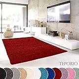 Teporio Shaggy-Teppich | Flauschiger Hochflor fürs Wohnzimmer, Schlafzimmer oder Kinderzimmer | einfarbig, schadstoffgeprüft, allergikergeeignet (Rot - 240 x 340 cm)