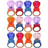 com-four® 12x LED Finger-Ringe mit blinkendem Farbwechsel in Verschiedenen Farben [Auswahl variiert] (12 Stück - Kunststoff Rose)