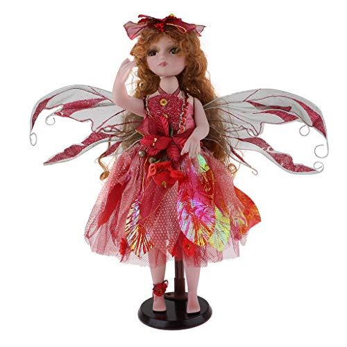 FLAMEER Viktorianische Engel Prinzessin Puppen Porzellanpuppe Keramik Mädchen Puppe im Kleidung, Höhe: 40 cm - (Viktorianische Puppe Mädchen Kostüm)
