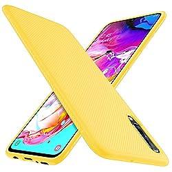 iBetter für Samsung Galaxy A70 Hülle, Ultra Thin Tasche Cover Silikon Handyhülle Stoßfest Case Schutzhülle Shock Absorption Backcover Hüllen passt für Samsung Galaxy A70 Smartphone(Gelb)