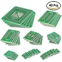 QLOUNI 40Pcs PCB Board Kit Double Sided SMD Tower para DIP IC PCB Converter Board para Bricolaje y Pruebas Técnicas 8 Tamaños