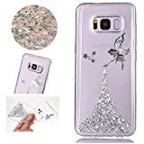Sycode Coque Galaxy S8,Ultra Mince Luxe Glitter Transparent Beau Argent Fée Fairy Modèle Silicone Strass Cover pour Samsung Galaxy S8