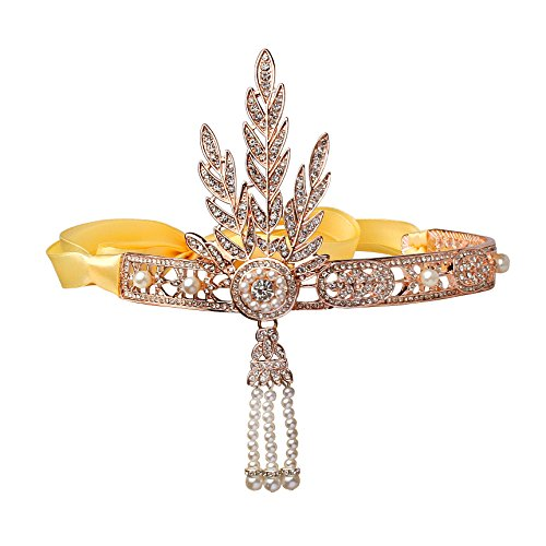 Babeyond Damen Stirnband Bling Silber Glanz Inspiriert von Great Gatsby Blatt Muster Perlen Stirnband Haar-Tiara Damen 1920 Accessoires (Rose (Accessoires Haar 1920)