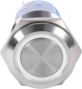 Keenso 19mm 12v Drucktastenschalter Led Selbstsichernde Schalter Wasserdicht Rastend Einschalten Aus Mental Runde Weiß Auto