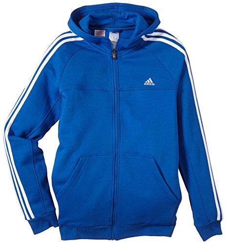 adidas Jungen Strickjacke Essentials 3-Stripes Hoodie, Blau/Weiß, 128, Z57568