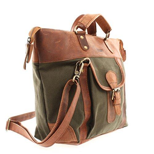LECONI Henkeltasche Shopper Damen Tasche Vintage Style Canvas + Leder Handtasche Schultertasche 39x30x13cm LE0043-C grün / braun