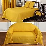 Homescapes waschbare Tagesdecke XXL Sofaüberwurf Plaid Rajput sonnengelb 255 x 360 cm Ripp-Optik Bettüberwurf 100% reine Baumwolle