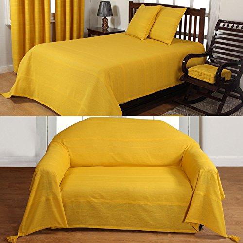 Homescapes rajput costine throwplain mandarino giallo fatto a mano 100% cotone, adatto per la maggior parte dei divani a 2posti copriletti singolo easy care lavabile a casa, cotone, tangerine yellow, 150 x 200 cm