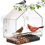 Finestra mangiatoia per uccelli grande casa per esterni alimentatori acrilici trasparenti arredamento cortile con vassoio di semi ricaricabile resistente alle intemperie neve e facile da pulire