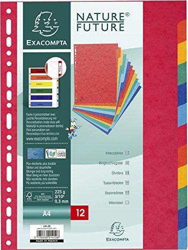 Exacompta - Réf 1412E - Un Paquet de 12 Intercalaires en Carte Lustrée Souple 225 g/m² A4 Couleurs Assorties