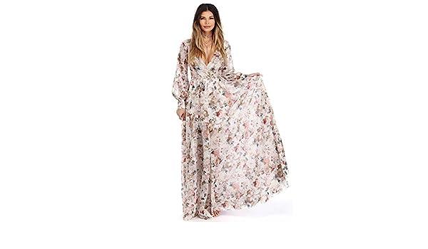 Gaddrt Femme col en V à manches longues en mousseline de soie Floral Robe  de soirée Maxi longue Beige a0890417700