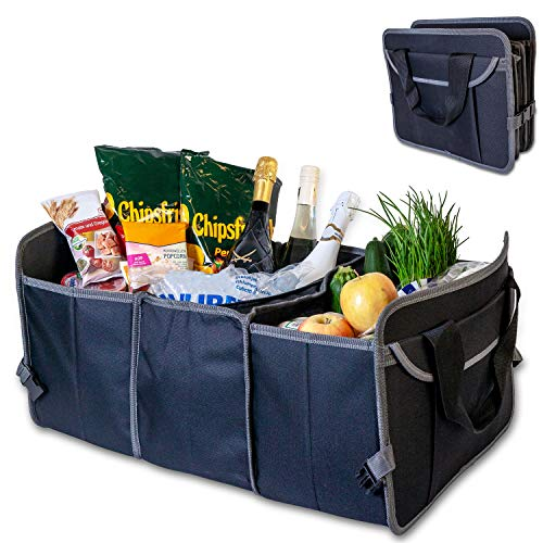 VAVO Faltbare Kofferraumtasche mit Kühlfach, Klett & verstärkten Elementen - Absolut Robustes 600D Polyester - Rutschfester Kofferraum Organizer Auto/Faltbox