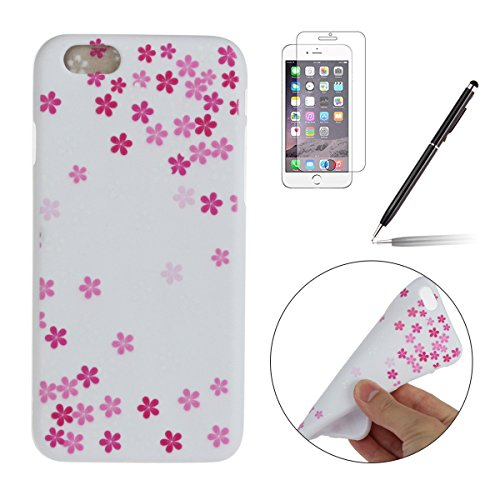iPhone 6S Coque,iPhone 6 Case,iPhone 6 Cover - Felfy Cas Ultra léger Mince Slim Gel Souple Soft Flexible TPU Silicone Fashion Couleurs de Bonbons Etui Couverture de Protection Bumper Anti Rayures Anti Blanc Prune Fleur