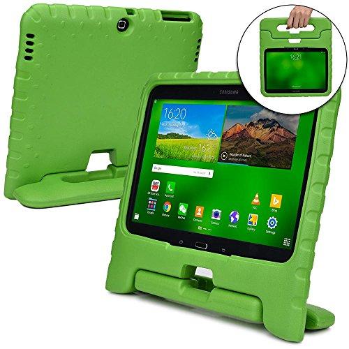 Funda Infantil Cooper Cases (TM) Dynamo para Samsung Galaxy Tab 4 10.1 & 3 10.1 en Verde + Protector de Pantalla gratuito (Ligera, absorción de impactos, Espuma EVA segura para los niños, Asa incorporada, y soporte para visionado)